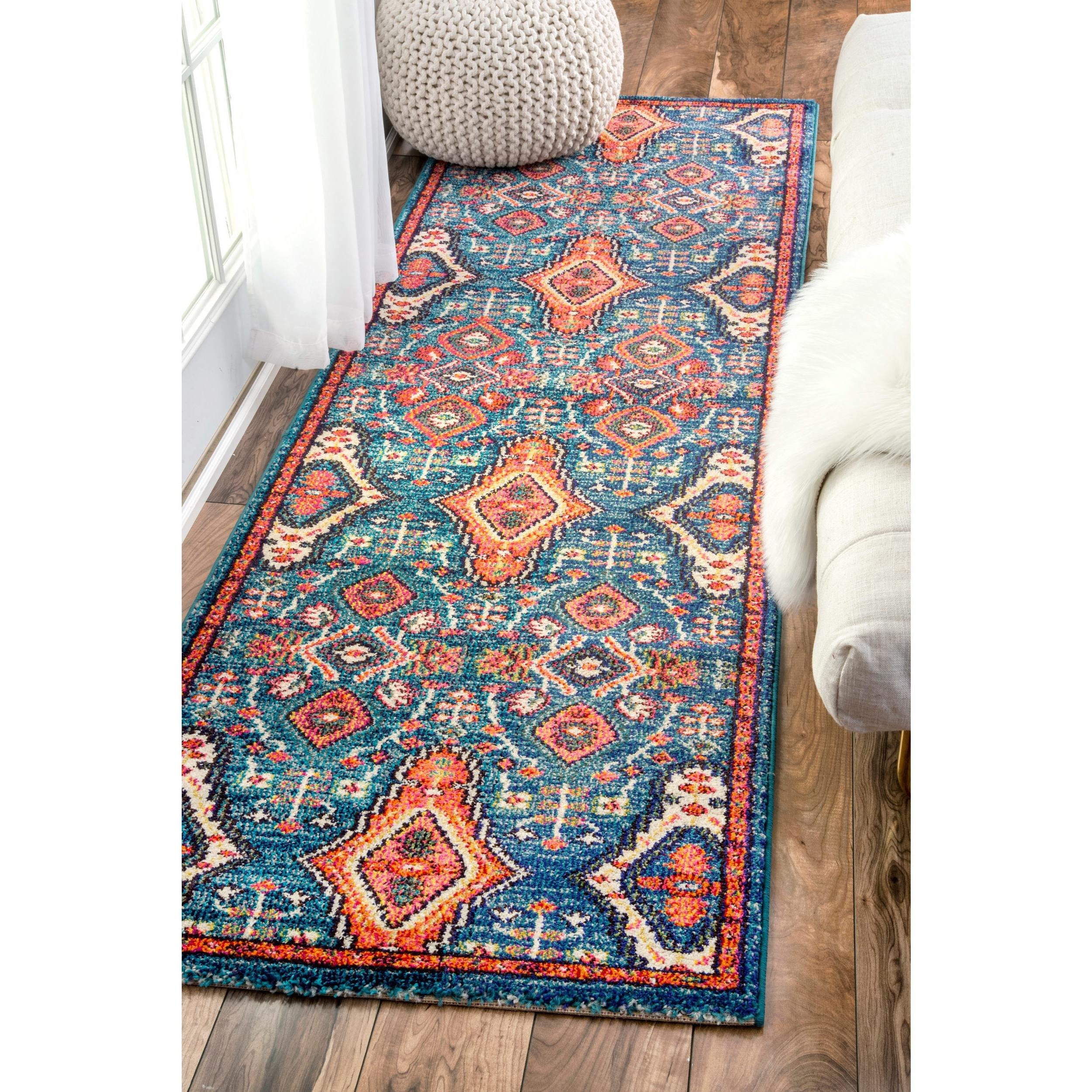 un 2'6 x 8' Traditional Ornamental Diamonds Multi Color Runner Rug, Polypropylene Oriental Country Floral Flower Pattern Rectangle Soft Plush Pretty Indoor Living Room Entrance Way Accent Carpet