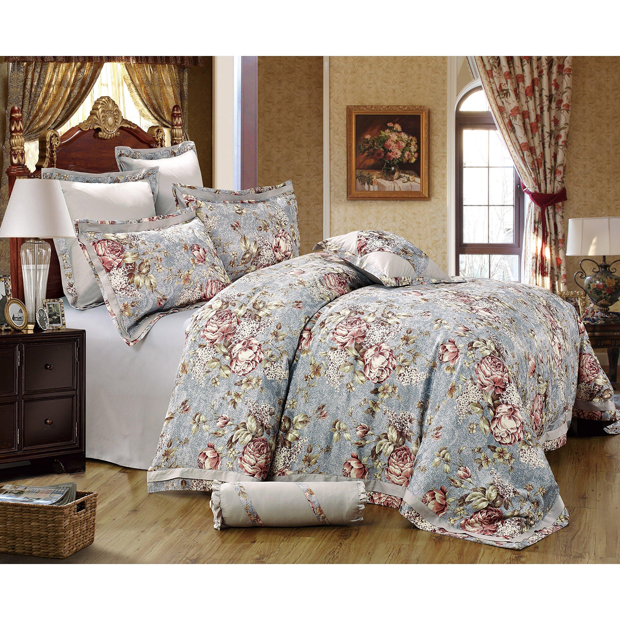 Sherry Kline Gwyneth 8-piece Sateen Luxury Comforter Set Spa Blue Oversized