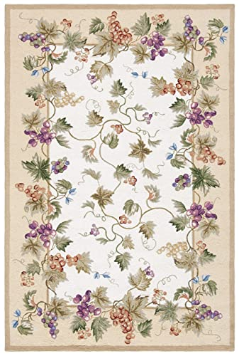 Safavieh Chelsea Collection HK116A Hand-Hooked Ivory Premium Wool Area Rug 6 x 9