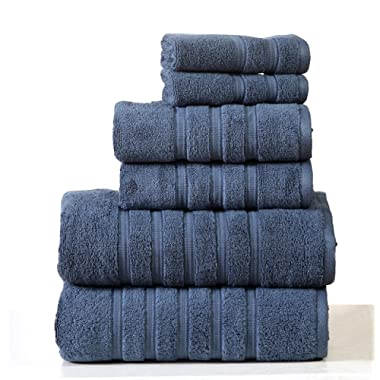 Homeway Decor 100% long-staple cotton Zero Twist Towel Set, quick dry towels, plush, absorbent 6 piece set (navy)