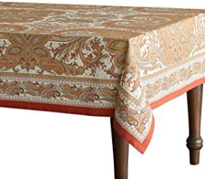 Maison d' Hermine Kashmir Paisley 100% Cotton Tablecloth 60 - inch by 108 - inch. Perfect for Thanksgiving and Christmas