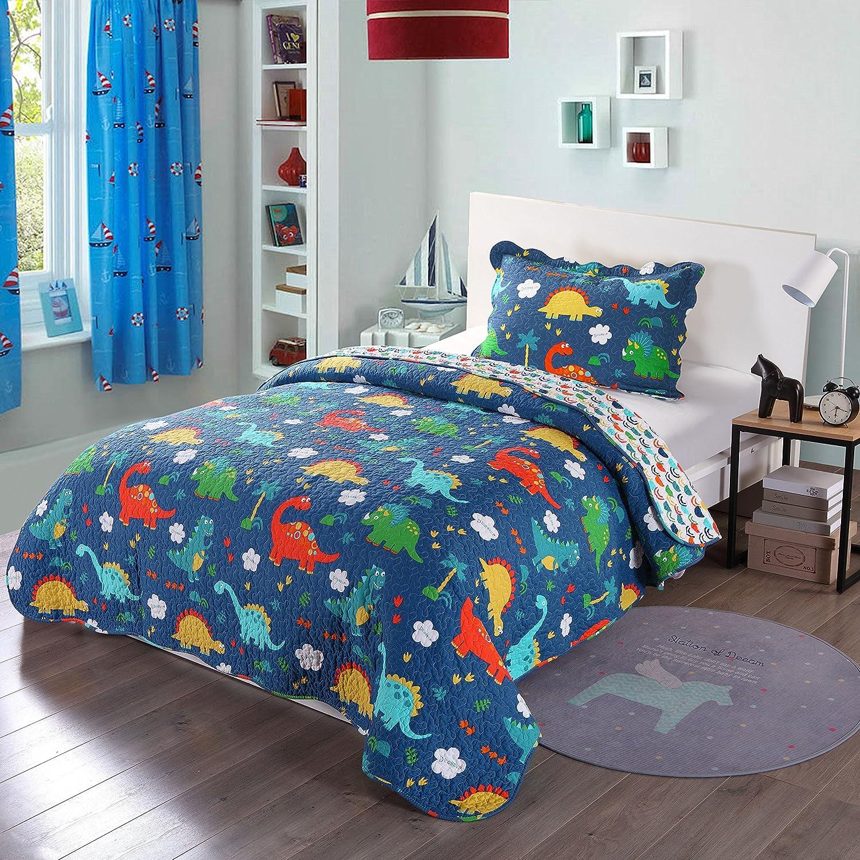 100% Cotton 2 Piece Kids Quilt Bedspread Comforter Set Throw Blanket for Teens Boys Girls Kids Beds Bedding Coverlet, Cartoon Dinosaur (Twin)