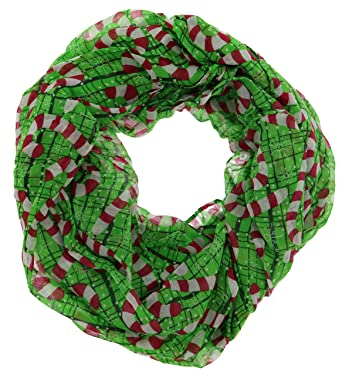 happy holidays christmas theme womens gauze infinity scarf candy canes
