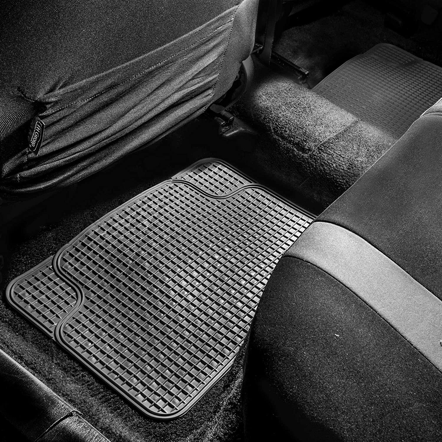 FH Group F11300GRAY Anti-Slip All Weather Floor Mats-Checker Style Gray