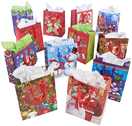 prextex 12 assorted 13 christmas gift bags holiday gift bags large size assorted bright - Amazon Christmas Gift