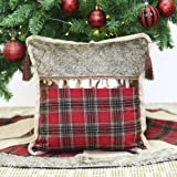 Valery Madelyn Trendy Red and Black Tartan Plaid Christmas Pillow Cover with Tassels, 16x16 Inch,Themed with Tree Skirt(Not Included)