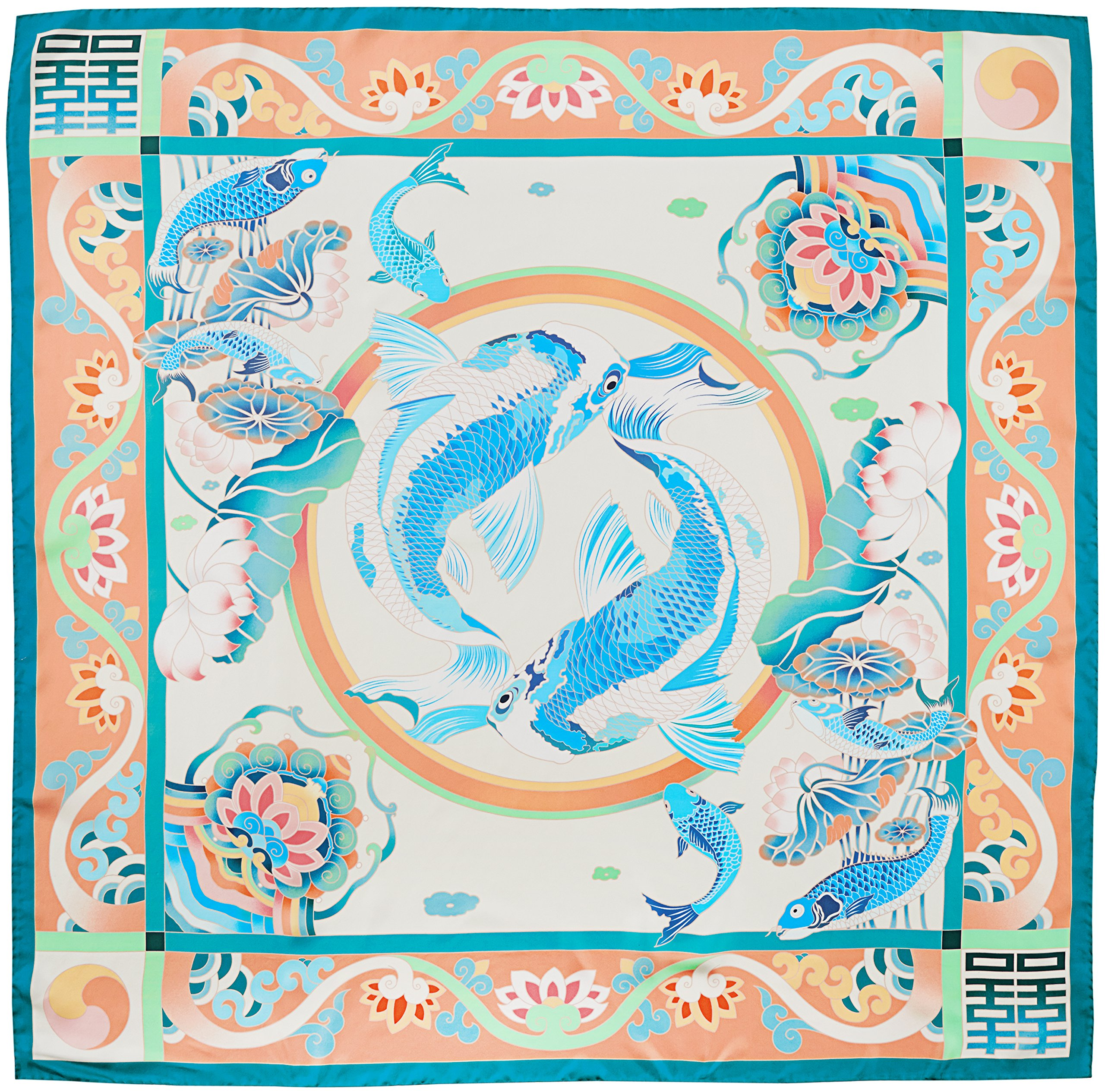 R. Culturi Handmade in Italy Silk Twill Luxury Artwork Scarf Shawl (Teal/Peach) by R. Culturi