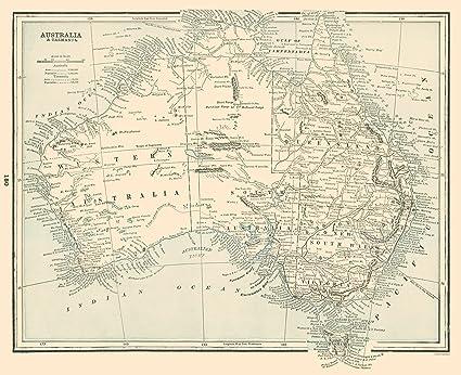 Map Australia Tasmania.Amazon Com Old Australia Map Australia Tasmania Rathbun 1893