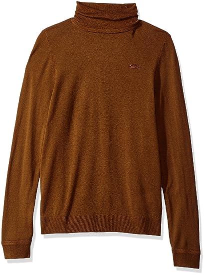 Lacoste Womens Turtleneck Wool Sweater Dark Renaissance Brown 8