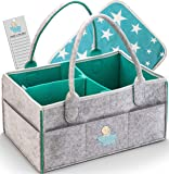 Knowing Baby Diaper Caddy Organizer - Large Portable Nursery Storage Bin for Car, Sturdy Diaper Basket for Changing Table, Travels Tote Bag, Newborn Shower Gift, Free Bonus Changing Pad