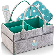 Knowing Baby Diaper Caddy Organizer – Large Portable Nursery Storage Bin for Car, Sturdy Diaper Basket for Changing Table, Travels Tote Bag, Newborn Shower Gift, Free Bonus Changing Pad