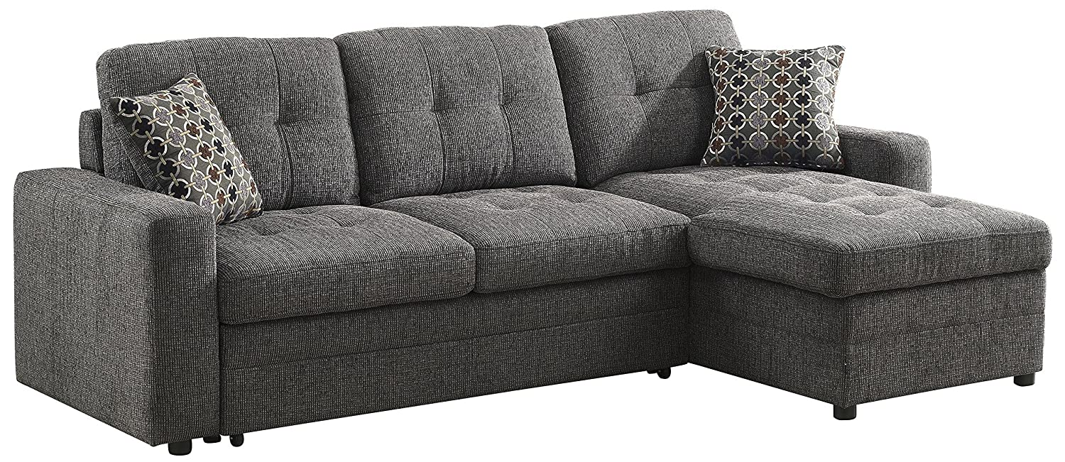 Com Gus Sectional Sofa With Pull Out Bed Charcoal Kitchen Dining