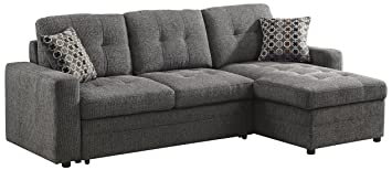 Amazon Com Gus Sectional Sofa With Pull Out Bed Charcoal Kitchen