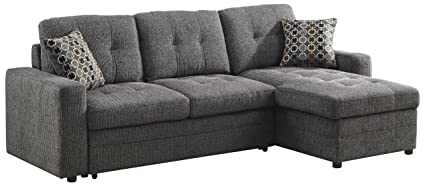 amazon com gus sectional sofa with pull out bed charcoal kitchen rh amazon com sectional pull out couch with storage sectional pull out couch canada