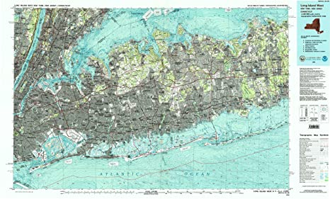 Topographic Map Long Island.Amazon Com Yellowmaps Long Island West Ny Topo Map 1 100000 Scale