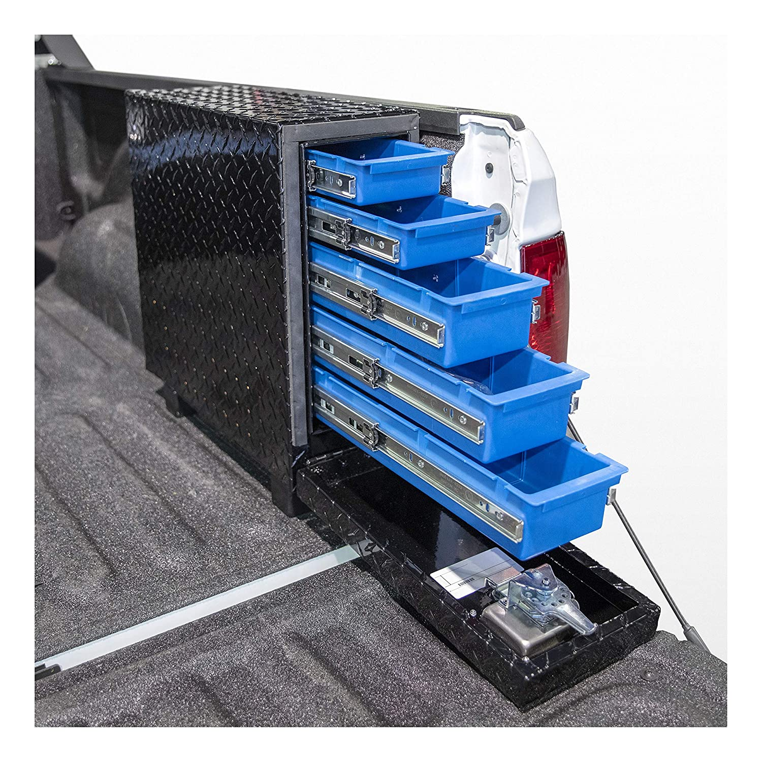 UWS EC20052 22-Inch Gloss Black Aluminum Truck Bed Tool Box with 5 Drawers