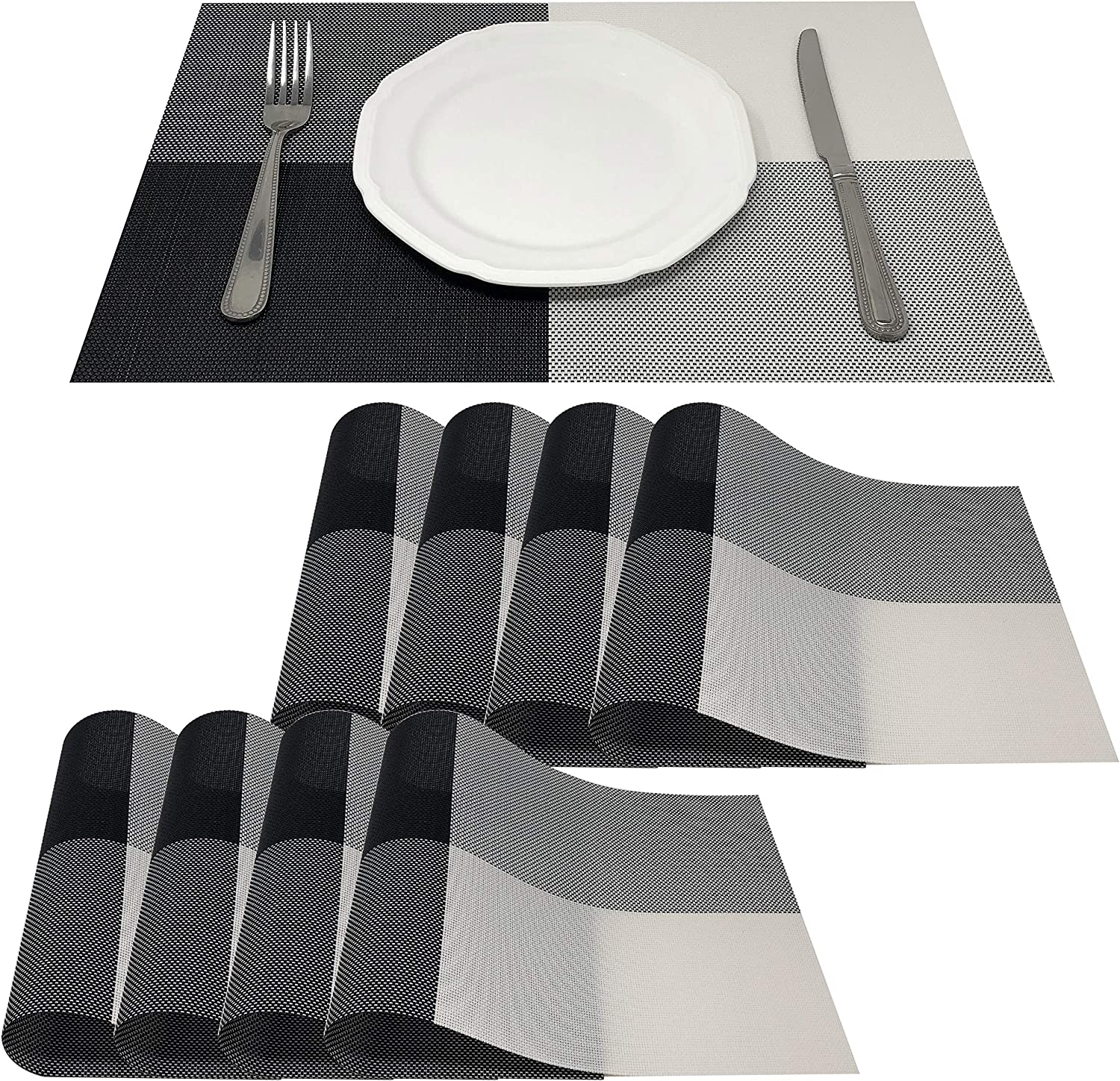 Amazon Com Allgala 8 Pack Dining Table Pvc Placemat Set Protect Table From Heat Stain Scratch And Anti Skid Style Black White Square Hd80203 Home Kitchen