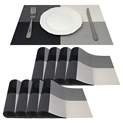 Magnificent Allgala 8 Pack Dining Table Pvc Placemat Set Protect Table From Heat Stain Scratch And Anti Skid Style Black White Square Hd80203 Lamtechconsult Wood Chair Design Ideas Lamtechconsultcom