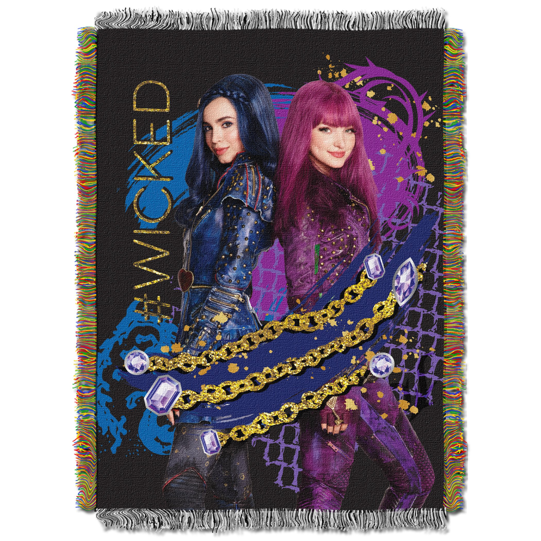 Disney's Descendants 2, ''Glitter Chains'' Woven Tapestry Throw Blanket, 48'' x 60'', Multi Color