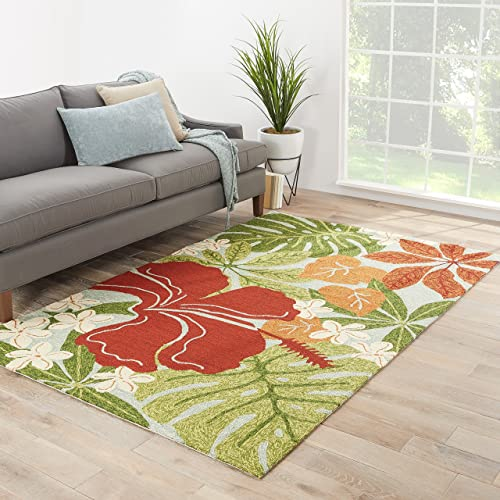 Jaipur Living Luau Indoor Outdoor Floral Leaves Green Area Rug 2 X 3