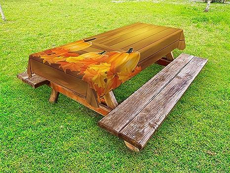 Amazon.com: Lunarable Pumpkin Outdoor Tablecloth, Fruits on ...