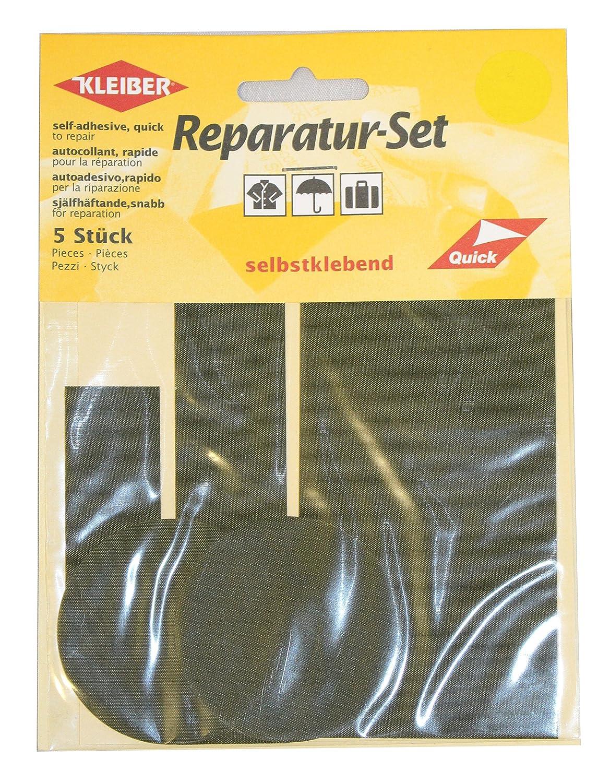 Kleiber - Set di toppe autoadesive per riparazioni di abiti in nylon, 5 pezzi, verde oliva 430-21