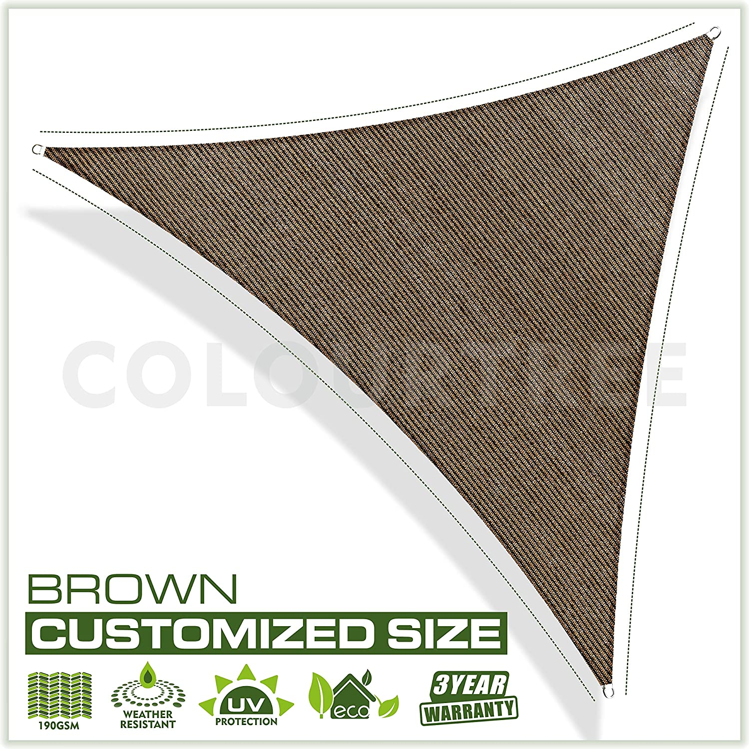 ColourTree Customized Size Order to Make Sun Shade Sail Canopy Mesh Fabric UV Block Triangle – Commercial Standard Heavy Duty – 190 GSM – 3 Years Warranty 32 x 32 x 32 Brown