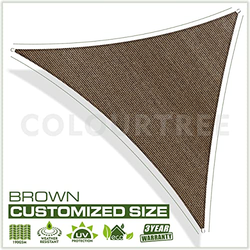 ColourTree Customized Size 32 x 32 x 32 Brown Sun Shade Sail Canopy Mesh Fabric UV Block Triangle – Commercial Standard Heavy Duty – 190 GSM – 3 Years Warranty