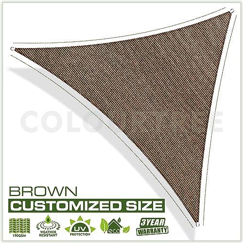 ColourTree Customized Size 32 x 32 x 32 Brown Sun Shade Sail Canopy Mesh Fabric UV Block Triangle