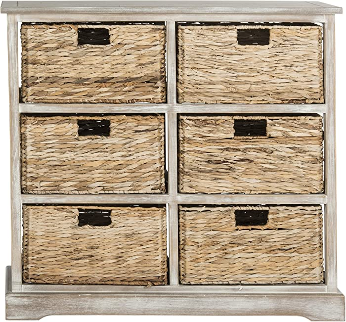 Safavieh American Homes Collection Keenan Vintage White 6 Wicker Basket Storage Chest