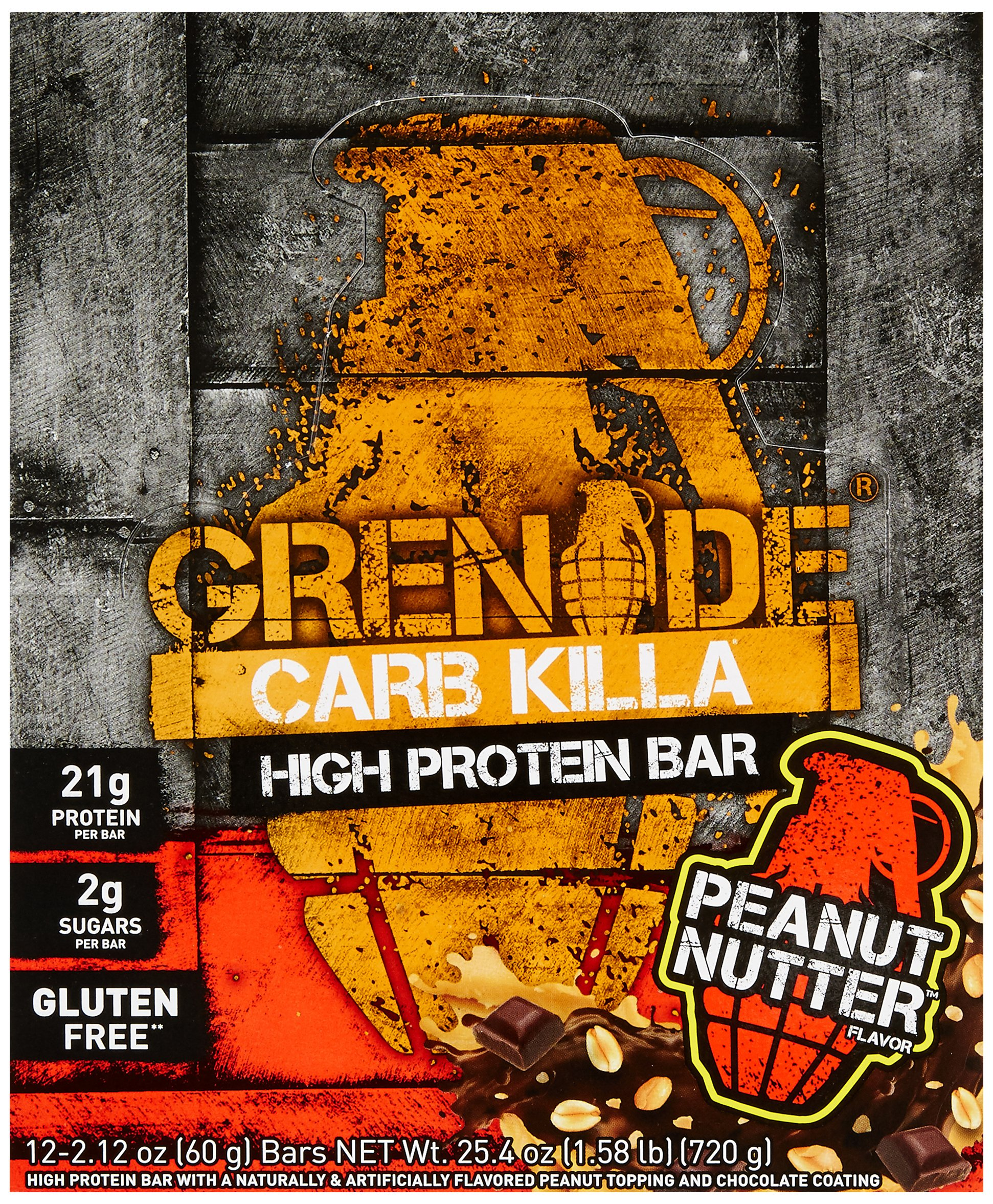 GRENADE Carb Killa Protein Bars, Triple-Layered Deliciously Crunchy High Protein Bar - Suitable Meal Replacement For Weight Loss, Peanut Nutter, 12 Bars
