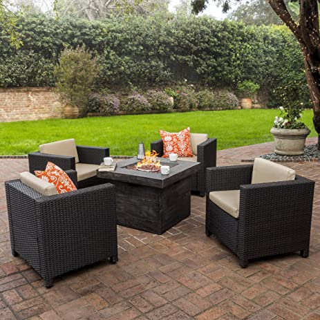Venice Patio Furniture 5 Piece Outdoor Wicker Patio Chair Set With Propane  Fire (Table)