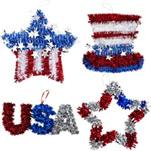 Sister Novelties Fourth of July Decorations for Home (Set of 4), Memorial Day Decorations, Patriotic Decor, 4th of July Decorations, 4th of July Door Decorations, Patriotic Decorations for Parties