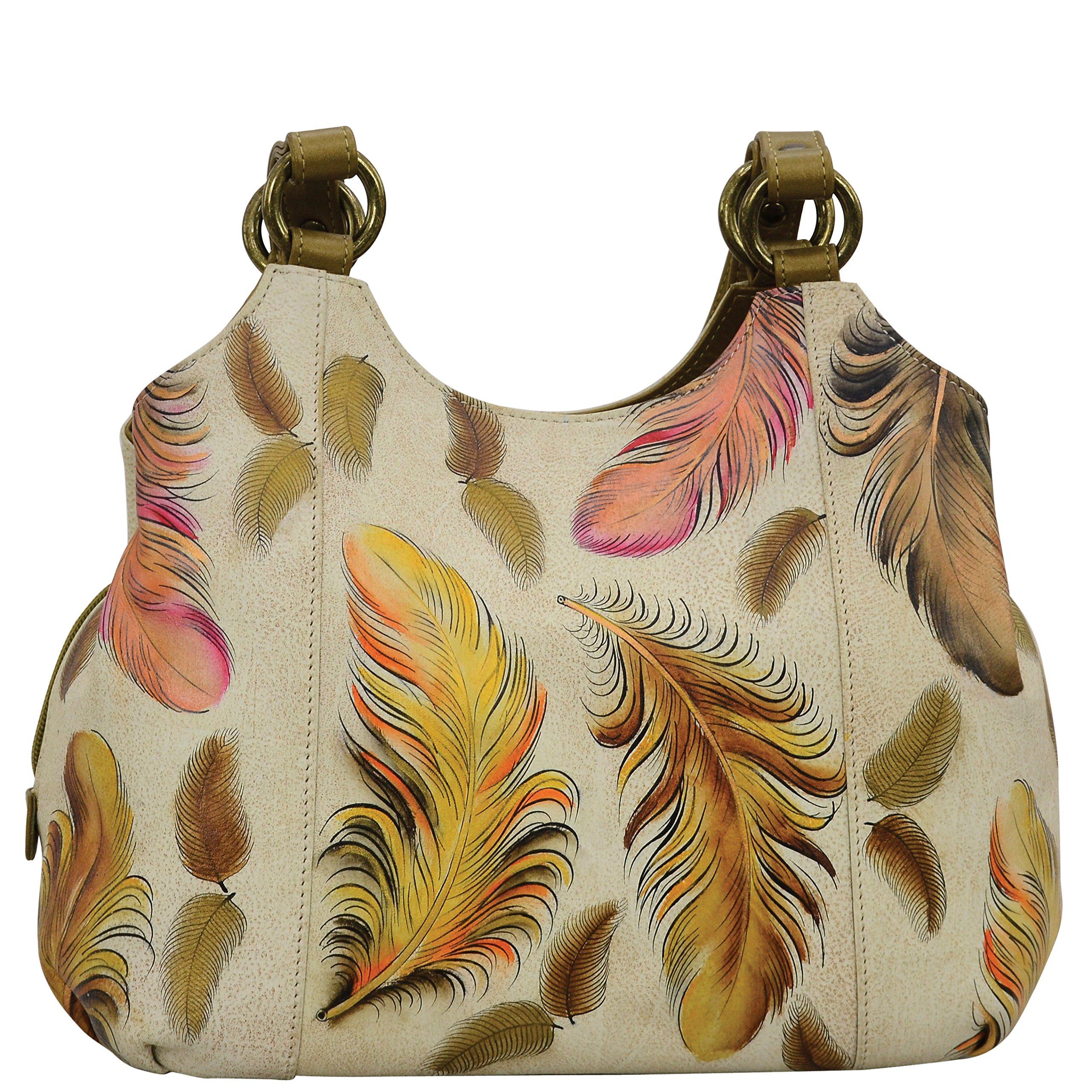 Anuschka Hand Painted Designer Leather Handbags for Women – Christmas Gifts- Leather satchel with 3 compartments (Floating Feathers Ivory 469 FFT-I)