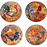 Certified International Rustic Rooster Dinner Plate, 11-Inch, Multicolor, Set of 4