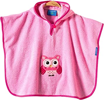 Morgenstern Kinderponcho Badeponcho Baby mit Kapuze Eule Kleinkinder one size