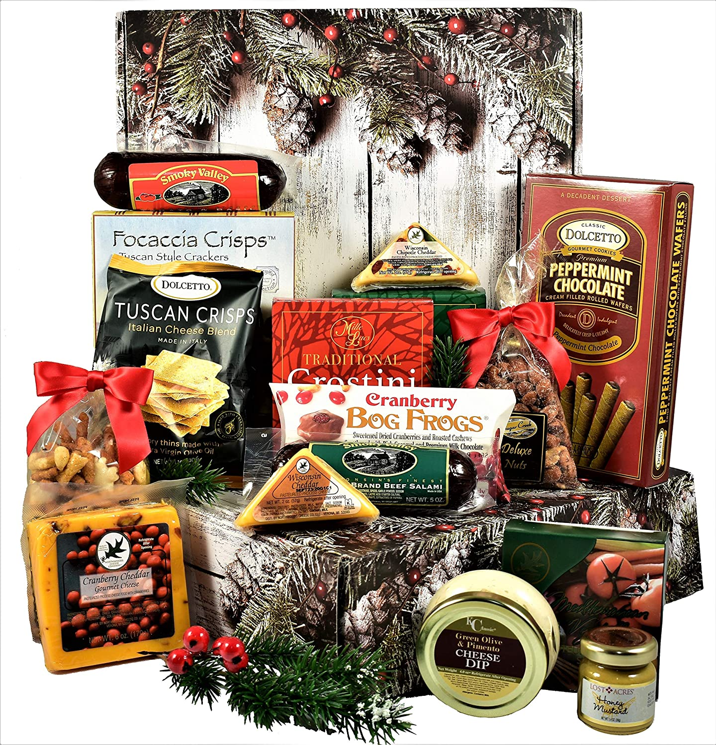 Gift Basket Village Home For The Holidays Care Package, Deluxe Gift Box with Meat and Cheese, Crackers and Cheese Spread, Delicious Sweet Cookies and More...