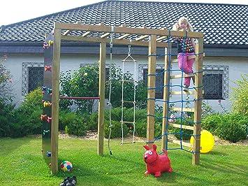 Xxl Klettergerüst 2 4m Kletterturm Spielturm Mit Kletternetz Reckstange Leiter : Holzland greve multispielanlage xxl cm kd grün