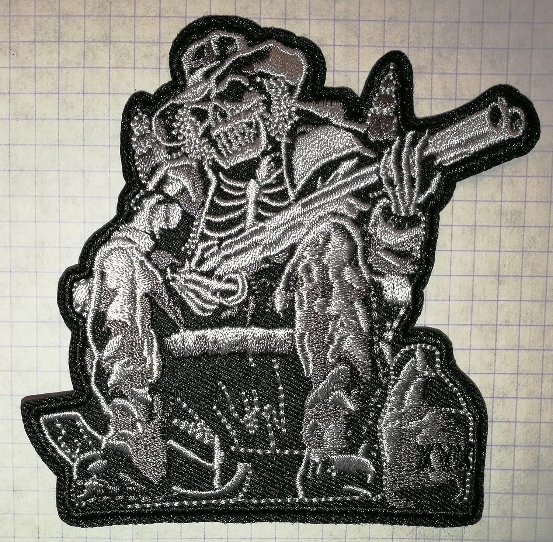 Skelett mit eine Schrotflinte bestickt Tuch Eisen auf Patch Biker