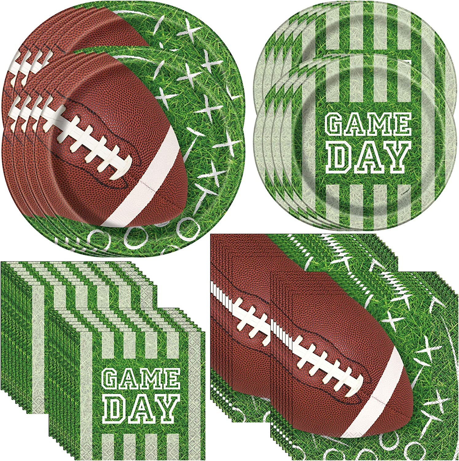 Unique Game Day Football Sunday Party Bundle | Dinner & Dessert Plates, Luncheon & Beverage Napkins | Great for Sports-Themed Party
