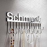 """Ganchos para pared sostenedor joyero con letras """"Schmuck """", 14 ganchos, hecho a mano, aluminio"""