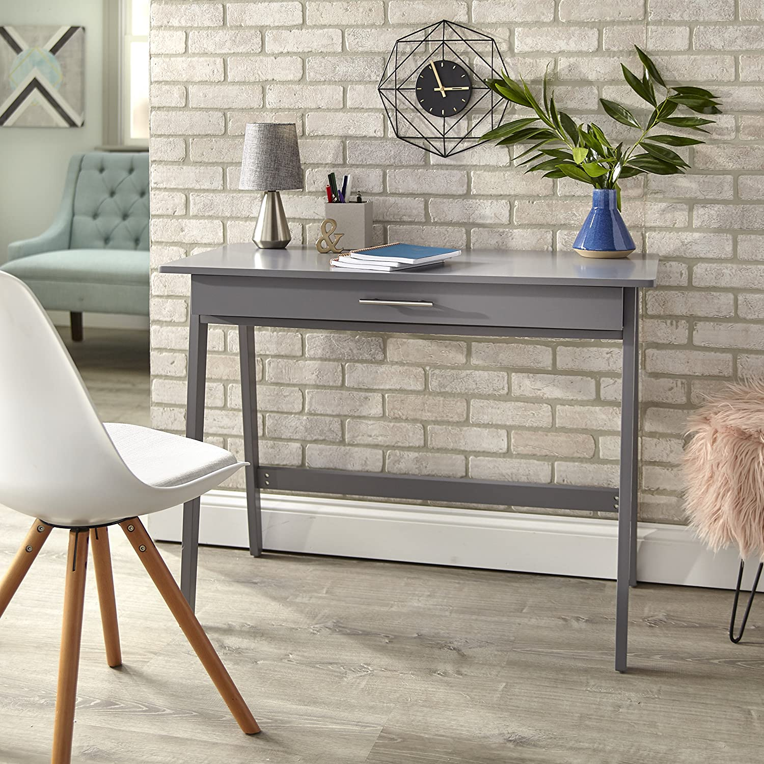 Target Marketing Systems 60707GRY Renata Wooden Home Office Desk, Gray