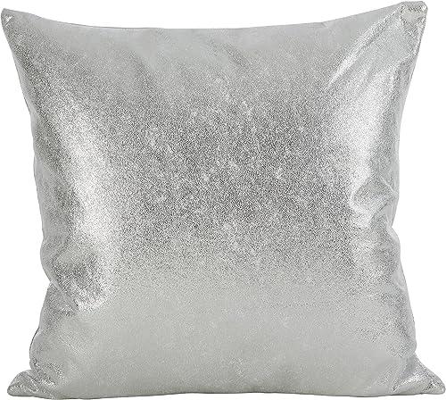 SARO LIFESTYLE Shimmering Metallic Design Down Filled Throw Pillow, 20 , Silver