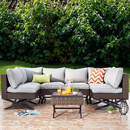 PatioFestival Patio Conversation Set X-Leg Sectional 7 Pieces Cushioned Outdoor Furniture Set