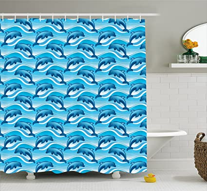 Lunarable Dolphin Shower Curtain, Dolphin Illustration Jumping Waves With  Large Mammal Friendly Ocean Animal,