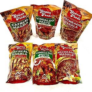 Ron Foods Goan Masala Combo of 6   (2) Cafreal Masala (7 oz)   (2) Recheado Masala (7 oz)   (2) Vindaloo Paste (7 oz)