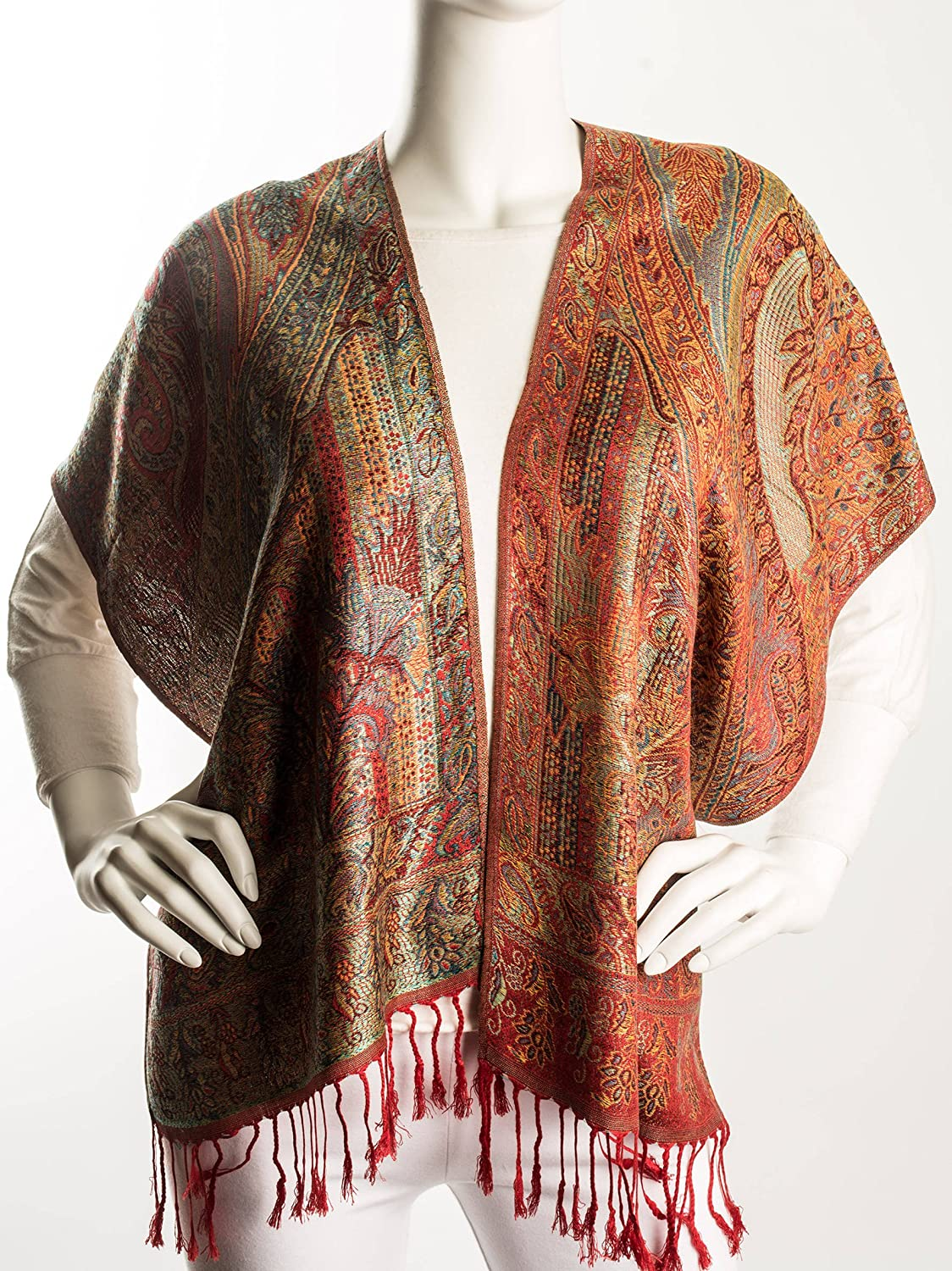 Vintage Scarves- New in the 1920s to 1960s Styles Bohomonde Rajana Scarf Pashmina Indian Paisley Traditional Jacquard Scarf $29.95 AT vintagedancer.com