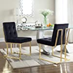 Iconic Home FDC2700-AN Liam Contemporary Brass Metal Frame Modern Tufted Velvet Polished Dining Side Chair, Black (Set of 2)