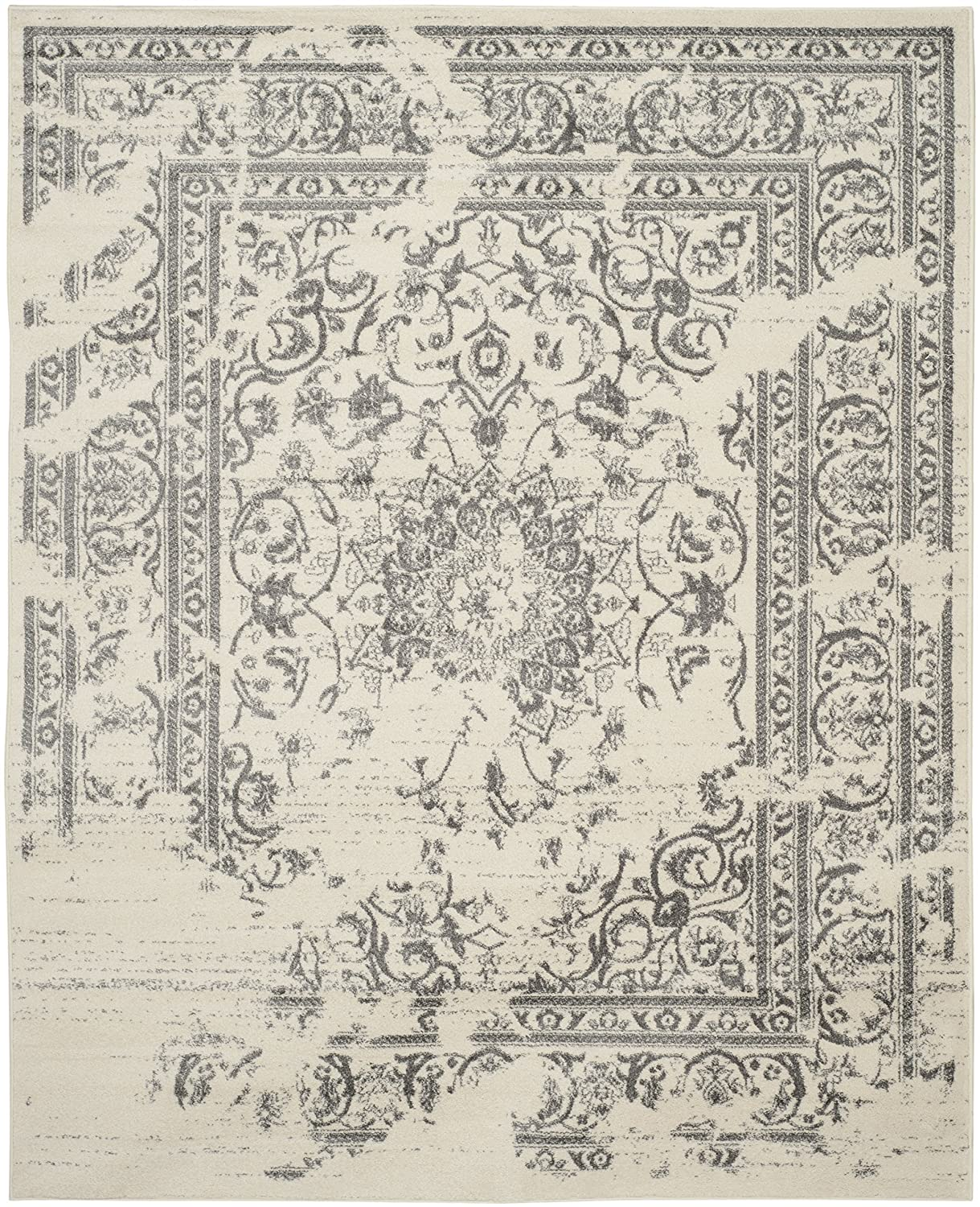 Amazon.com: Safavieh Adirondack Collection ADR101B Ivory And Silver  Oriental Vintage Distressed Area Rug (8u0027 X 10u0027): Kitchen U0026 Dining