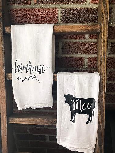 Merveilleux Farmhouse Cow Kitchen Tea Towel Flour Sack Set Of 2